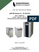 ΜPS-SP 10-30kVA 3-1 With Bypass Isolation Transformer (Option)