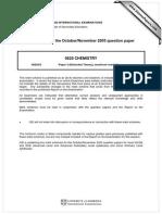 Chemistry igcse paper 3 2005