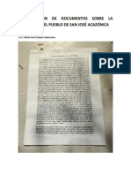 Transcripción de documentos sobre la fundación del pueblo de San José Acazónica
