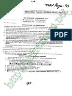 CBEE 2012 MSc  MVSc Biotechnology Question Paper pdf