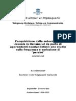 L'acquisizione della subordinata causale in italiano L2 da parte di apprendenti neerlandofoni