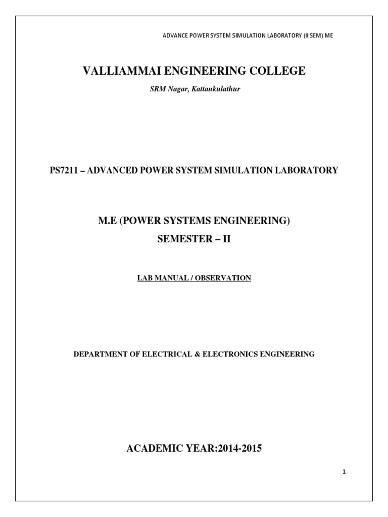 advance power system simulation lab pdf ac power electric power rh scribd com electrical circuits simulation lab manual jntu electrical circuits and simulation lab manual pdf