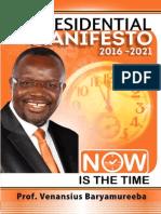 Baryamureeba Presidential Manifesto 2016 2021