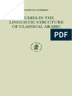 [Kingberg] Studies in Linguistic Structure of Classical Arabic (1)