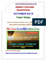 October First Week Current Affairs 2015