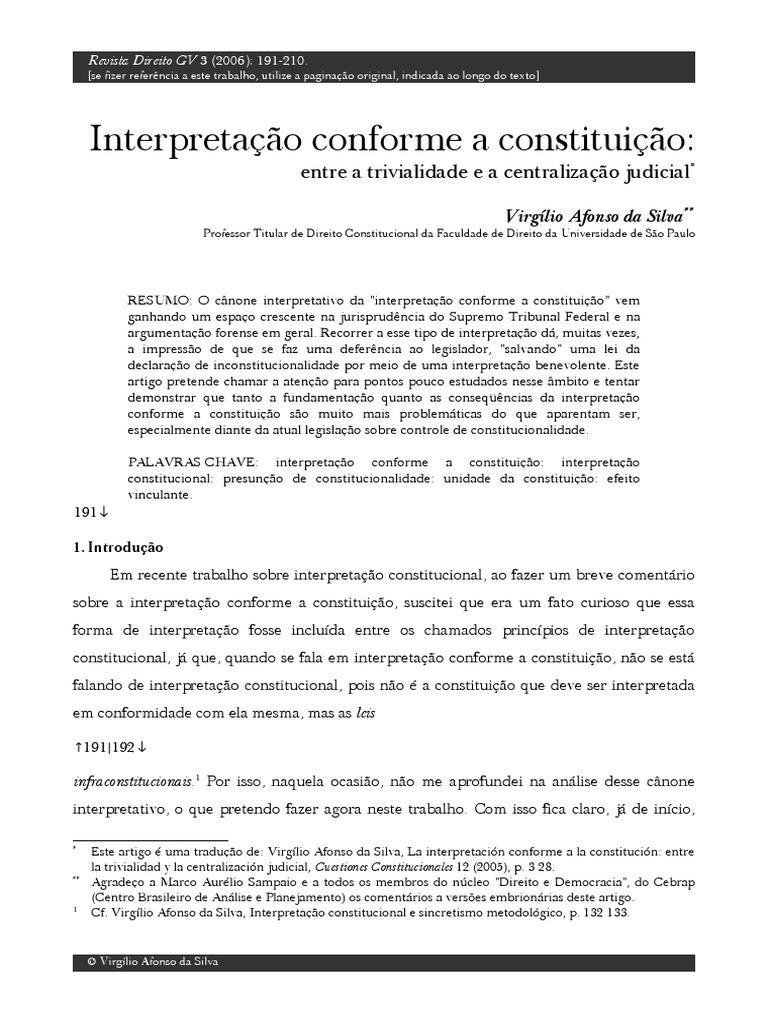 silva, virgílio afonso da interpretacao_conforme a constituição1054 Quantos Artigos Tem A Constituicao Brasileira #2