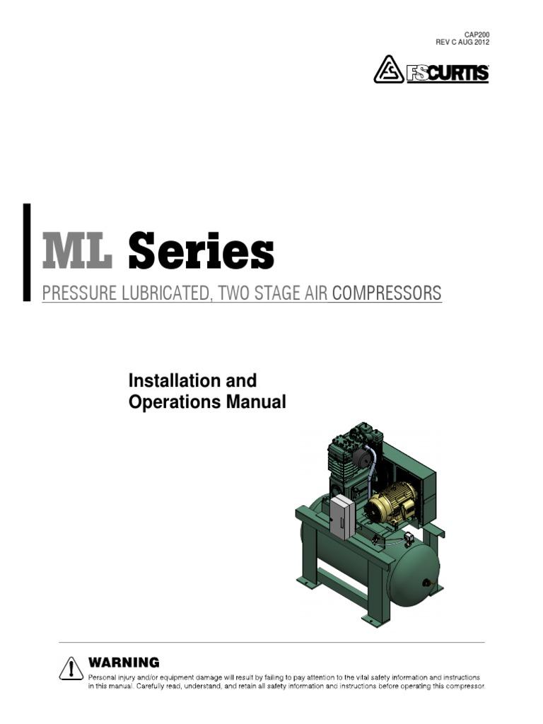 Curtis Ml Air Compressor Series Manual Valve Gas Atlas Copco 1600 Wiring Diagram