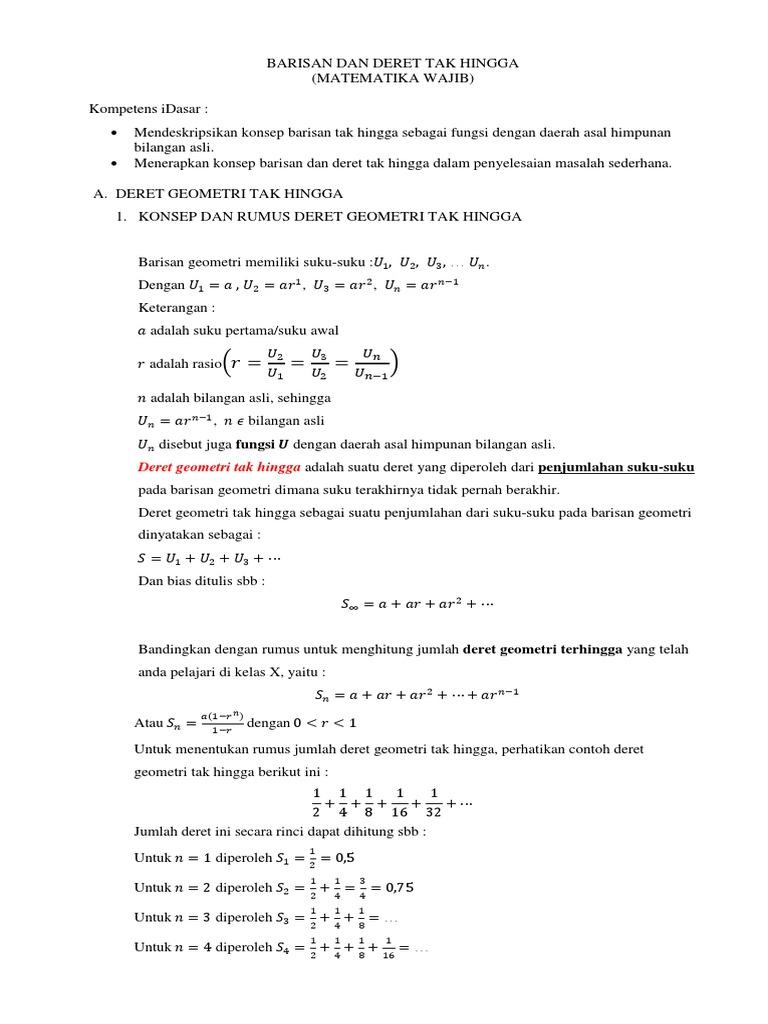 24 Contoh Soal Barisan Dan Deret Geometri Tak Hingga Beserta Pembahasannya Kumpulan Contoh Soal