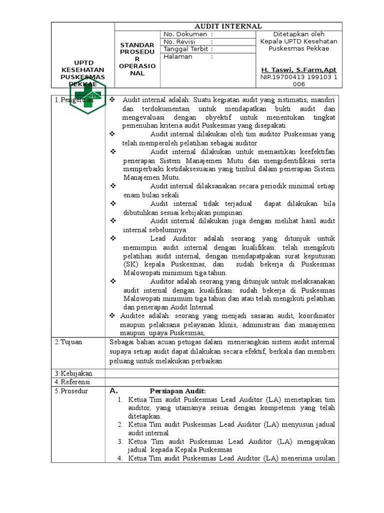 Contoh Sk Audit Internal Puskesmas Ilmusosial Id