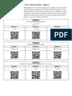 QR Code Defuse the Bomb - Algebra 2