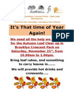 Brooklyn Crescent Park Autumn Clear Up 2015