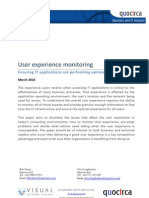 User experience monitoring