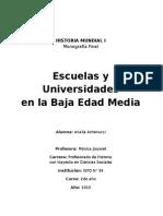 Escuelas y Universidades en La Baja Edad Media