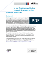 Skillset's Guidelines for Employers offering Work Placement Schemes in the Creative Industries