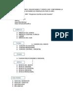 PRINCIPALES REGIONES, SUB-REGIONES Y PAÍSES QUE CONFORMAN LA DIVISIÓN GEOGRÁFICA PROPUESTA POR LA OMT.Principales Regiones