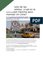 Velocidad Maxima Para Manejar en Lima