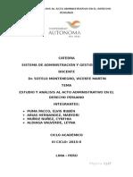 Estudio y Analisis Del Acto Administrativo en  Derecho Peruano