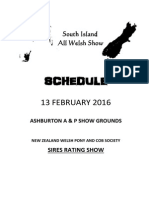 South Island All Welsh Show Schedule 2016