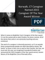 Norwalk, CT Caregiver Named 2015 Caregiver of the Year Award Winner