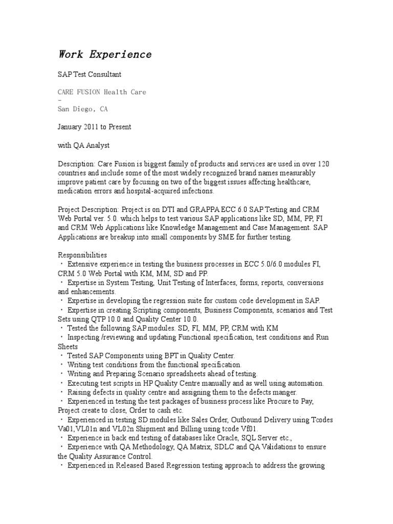 Sap Testing Resume Doc Web Service Scripting Language