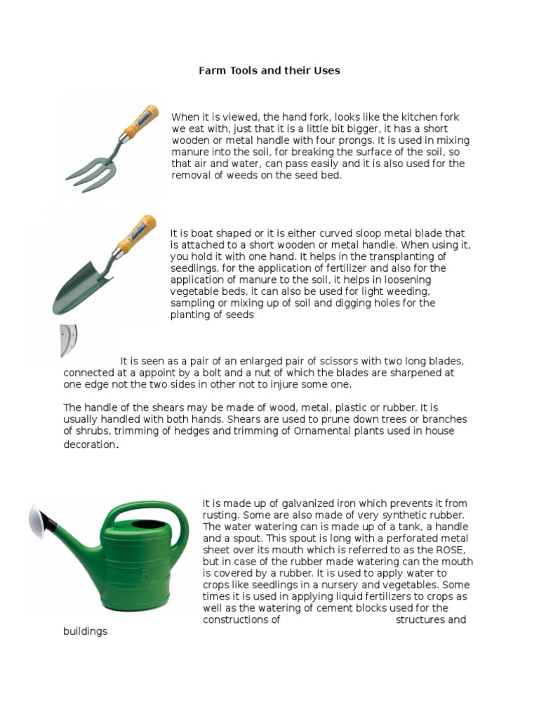 Farm tools and their uses tractor scissors for Gardening tools meaning