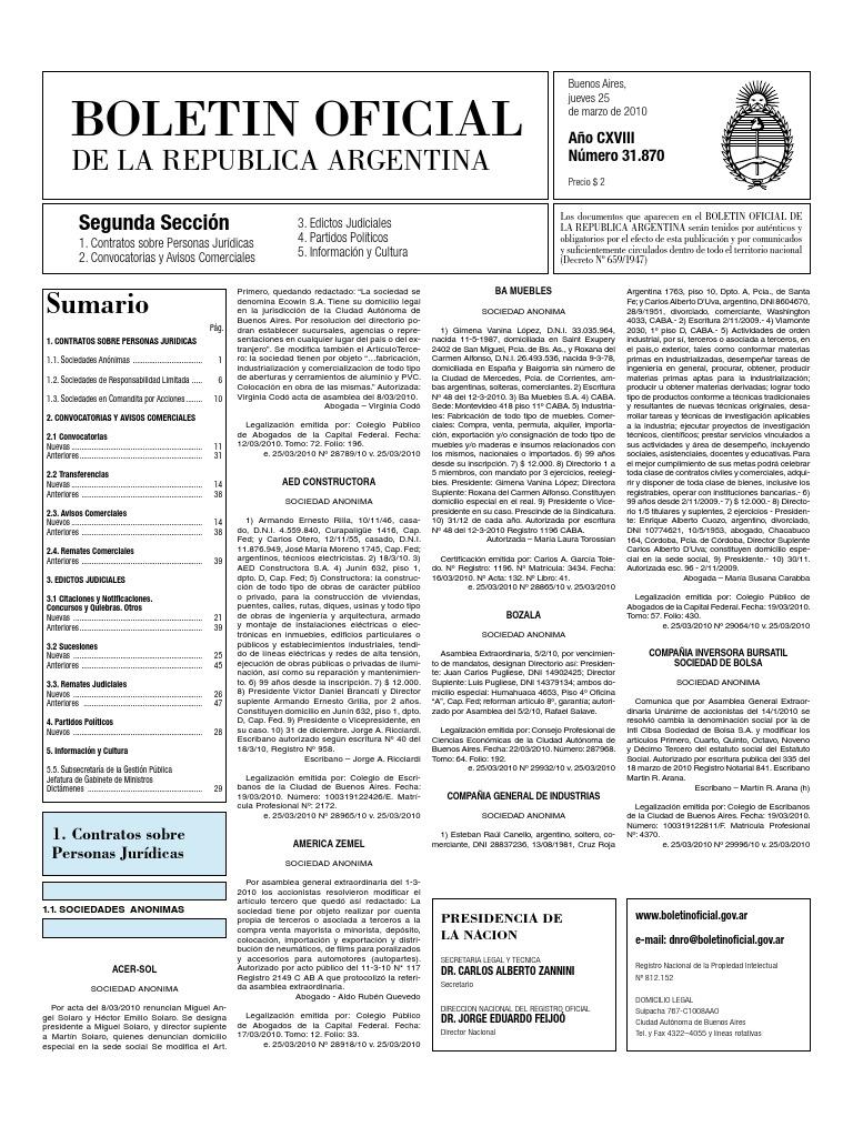 Boletin Oficial 25-03-10 - Segunda Seccion