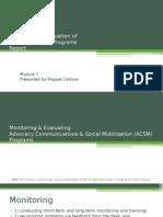 Monitoring & Evaluation of Social Marketing Programs