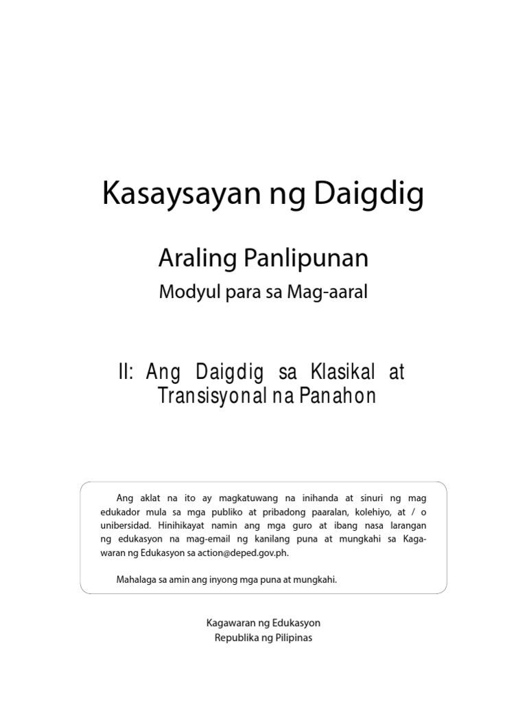 Araling Panlipunan Grade 9 Module Pdf
