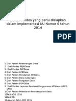 Daftar Perdes Yang Perlu Disiapkan Dalam Implementasi UU