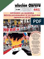 Semanario Revolución Obrera Ed. No. 441
