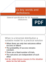 Statistics 2 Key Words and Definitions