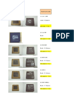 Gold Content List in CPU Chips