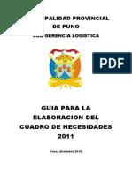 Manual Para Elaboración de Cuadro de Necesidades 2011