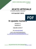 Comunicato n. 16 del 9.11.2015