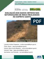 APRESENTACAO DA AVALIAÇÃO DOS DADOS OBTIDOS NAS SETORIZAÇÕES DE RISCO REALIZADAS NO ESPÍRITO SANTO