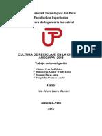 CULTURA DE RECICLAJE EN LA CIUDAD DE AREQUIPA, 2015