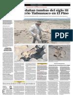 Saqueadores dañan tumbas del siglo III y un cementerio Tiahuanaco en El Pino
