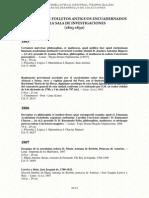 Colección de Folletos Antiguos de La Sala de Investigaciones UNMSM 1803-1830