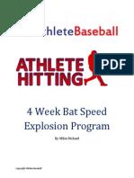Baseball bat speed program