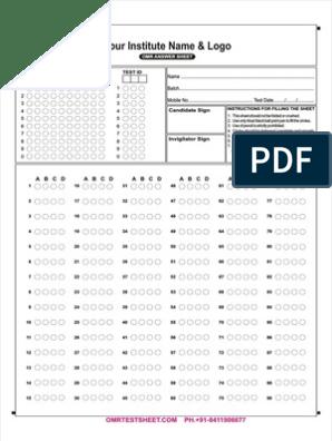 image regarding Printable Scantron Sheet Pdf titled 90 Queries OMR Sheet