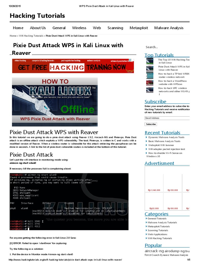 WPS Pixie Dust Attack in Kali Linux With Reaver | Internet