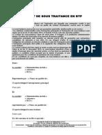 Contrat de Sous Traitance en BTP