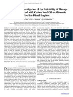Experimental Investigation of the Suitability of Orange Peel Oil as a Blend with Cotton Seed Oil as Alternate Fuel for Diesel Engines