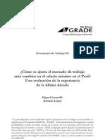 ¿Cómo se ajusta el mercado de trabajo ante cambios en el salario mínimo en el Perú? Una evaluación de la experiencia en la última década