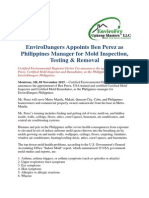 EnviroDangers Appoints Ben Perez as Philippines Manager for Mold Inspection, Testing & Removal