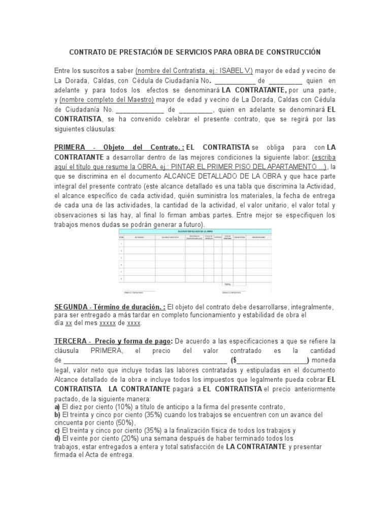 Contrato De Prestacion De Servicios Para Obra De Construccion