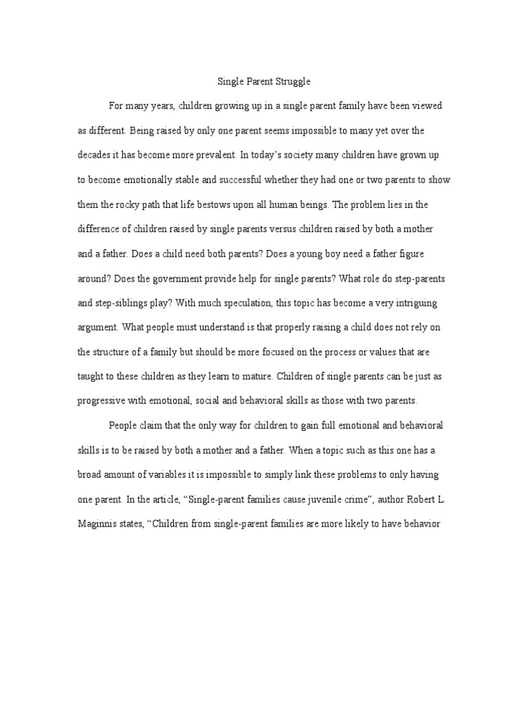 single parent vs two parent essay
