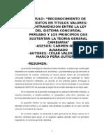 Reconocimiento de Creditos en Titulos Valores...
