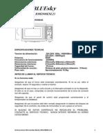 Instrucciones en Español Microondas Blue Sky BMG900ESL23