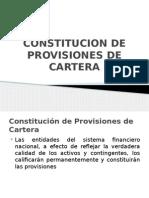Constitucion de Provisiones de Cartera